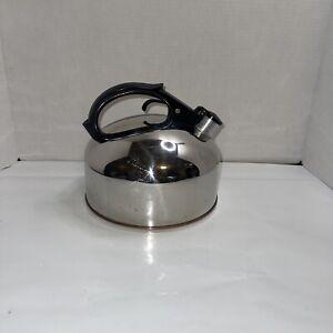 VINTAGE WHISTLING 4 QUART REVERE WARE KETTLE TEA POT COPPER BOTTOM ROME NY