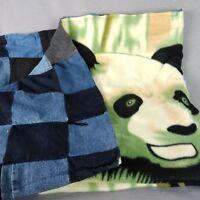 Denim Panda Patchwork Quilt Fleece Blanket Handmade Hand Tie Couch Throw 56 x 45
