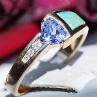 14k Yellow gold ring 1.49ct tanzanite diamond opal size 6.5 vintage 4.1g N2302A