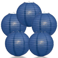 "(5-PACK) 6"" Navy Blue Round Paper Lantern, Even Ribbing, Hanging Decoration"