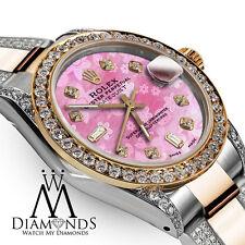 18K & SS 26mm Rolex Oyster Perpetual Datejust Custom Pink Flower Diamond Watch