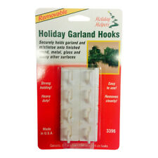 Christmas Garland Hooks Decorations Removable White Plastic Adhesive Pack of 8