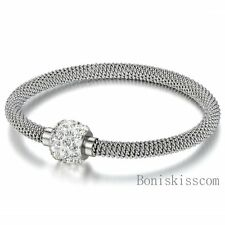 Silver Stainless Steel Magnetic Clasp Cable Mesh Wire Bracelet Rhinestone Charm