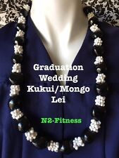 Hawaii Wedding BLACK Kukui Nut White Mongo Lei Graduation Luau Hula Necklace