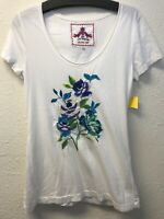 NWT Johnny Was JWLA White Embroidered Floral short sleeve tee Size S