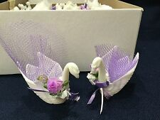 40 or 80 Romantic Engagement Wedding Favor Swan Candy Mint Nut Cups purple