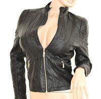 GIUBBINO NERO donna pelle giacca giacchino cuoio avvitato zip argento jacket H40