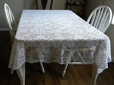 "Antique Italian Filet Floral Lace Tablecloth  82"" x 64"" Italy"