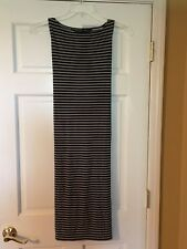 NORMA KAMALI Dress Size Medium Tie Waist Stripe Black Gray Stretch Sheath