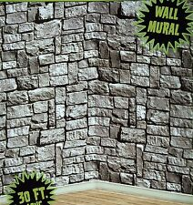 30ft Stone Dungeon Medieval Castle Walls Mural Halloween Photo Backdrop