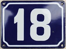 Large old French house number 18 door gate plate plaque enamel steel metal sign