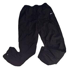 Vintage NFL Pro Line Reebok Mens Large Black Lined Windbreaker Pants Joggers 90s