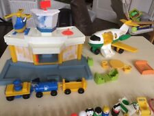 fisher price vintage little people, airport, plane, bus and cars