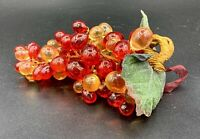 """Lucite Acrylic Retro Grape Cluster Red/Amber 8"""" Inches Mid Century Modern"""