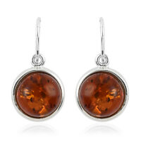 925 Sterling Silver Amber Round Drop Dangle Earrings Women Jewelry For Gift