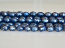 6-7x8-9mm Faceted Rice/Oval Freshwater Pearl Beads Dark Blue Color Pearl #815