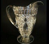 "ANTIQUE EAPG GLASS WATER PITCHER DIAMOND CUT THUMB PRINT 7 1/2"" BEADED BORDER"