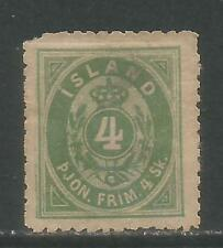 Iceland 1873 4s green Official (O3) MH