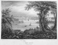 CITY OF SAINT LOUIS MISSISSIPPI RIVER PADDLE STEAMER ~ 1855 Art Print Engraving