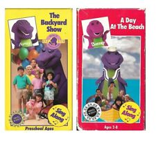 Barney A Day at the Beach & The Backyard Show Rare OOP Old Barney VHS lot of 2