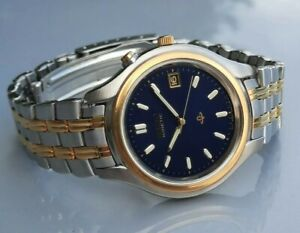 * MENS SEIKO KINETIC 5M42- 0D40 STAINLESS STEEL/GOLD BLUE DIAL WRISTWATCH WATCH