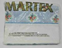 NEW VINTAGE MARTEX FULL FLAT SHEET No Iron Percale Pinafore Rose Floral Stripe