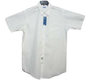New+Tags Van Heusen Men's White Poly Cotton Short Sleeve Dress Shirt 17 Tall