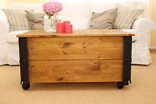 Table Basse D'Appoint Noyer en Bois Massif Shabby Chic Vintage Wohnzimmertisc
