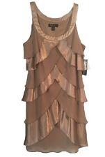 Satin, Chiffon Beaded Taupe Dress 12P