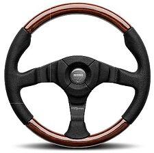 Momo Dark Fighter Black Leather & Wood Steering Wheel 350mm