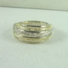 Sterling Silver and 10K Gold Textured Two Tone Ring Size 7 Signed MSC  1.4 Grams