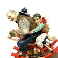 Norman Rockwell Christmas Gramps At The Reins Music Box 1992