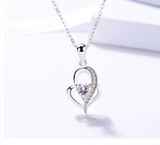 Necklace for Women 925 Sterling Silver Heart Pendant 18 inch Jewelry for Wife