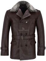 Mens GERMAN PEA COAT Brown Fur Collar Classic Military Hide Leather Dr Who