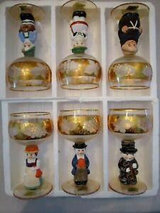 SET OF 6 GOEBEL 14K GOLD WINE CORDIAL GLASSES HUMMEL FIGURINE GERMANY Monk Sweep