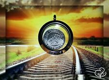 1/10 oz .999 Fine Silver * Monarch Train * round in WATERPROOF Keepsake Locket