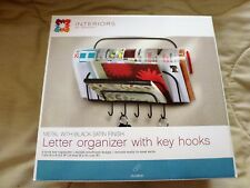 Interiors By Design Letter Holder Wall Mount with Key Hooks