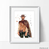 Fistful of Dollars Clint Eastwood Print Poster Watercolour Canvas Wall Art Gift