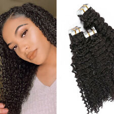 Deep Curly Tape In Human Hair Extensions Skin Weft Adhesive Invisible Brazilian