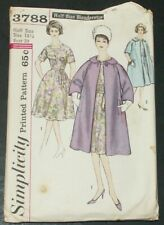 Simplicity 3788 Sewing Pattern Flared Dress Coat Vintage 1960's Size 18.5 Cut