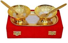 Gold & Silver Plated Brass Beautiful Engraved Designed Candy Set Christmas Gift