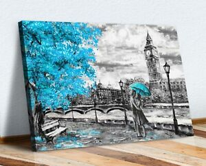 Canvas Wall Art Picture Print Artwork London Big Ben Turquoise Teal Umbrella