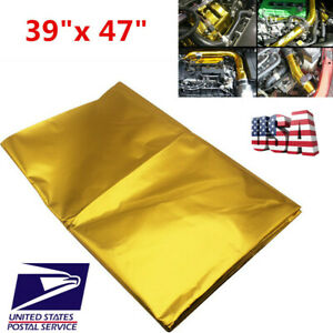 "Car 39""x 47"" Self Adhesive Reflect Gold Heat Wrap Barrier For Thermal Exhaust US"