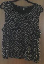 Josephine Chaus Sz XL Sleeveless Acetate Spandex  Black/Tan Abstract Print Tank