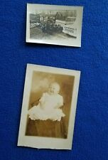 Lot 2 vintage black and white photos pictures baby boy in dress farm scene truck