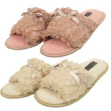 Mujer señoras Furry Arco Polar Puntera Abierta Zapatillas de invierno cálido Resbalón en Zapatos de Casa