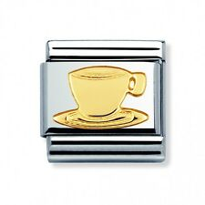BRAND NEW GENUINE NOMINATION CLASSIC 18ct CAPPUCCINO COFFEE CUP CHARM 030109 08