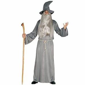 Adult Wizard Gandalf Grey Halloween Fancy Dress Costume Large