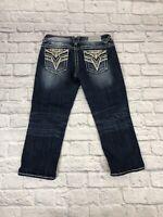 """Vigoss Size 5/6 Stretch Womens The Dallas Capri  21"""" Inseam Jeans  Denim  *"""