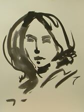 JOSE TRUJILLO ABSTRACT EXPRESSIONISM INK WASH PORTRAIT IMPRESSIONISM WOMAN DECOR